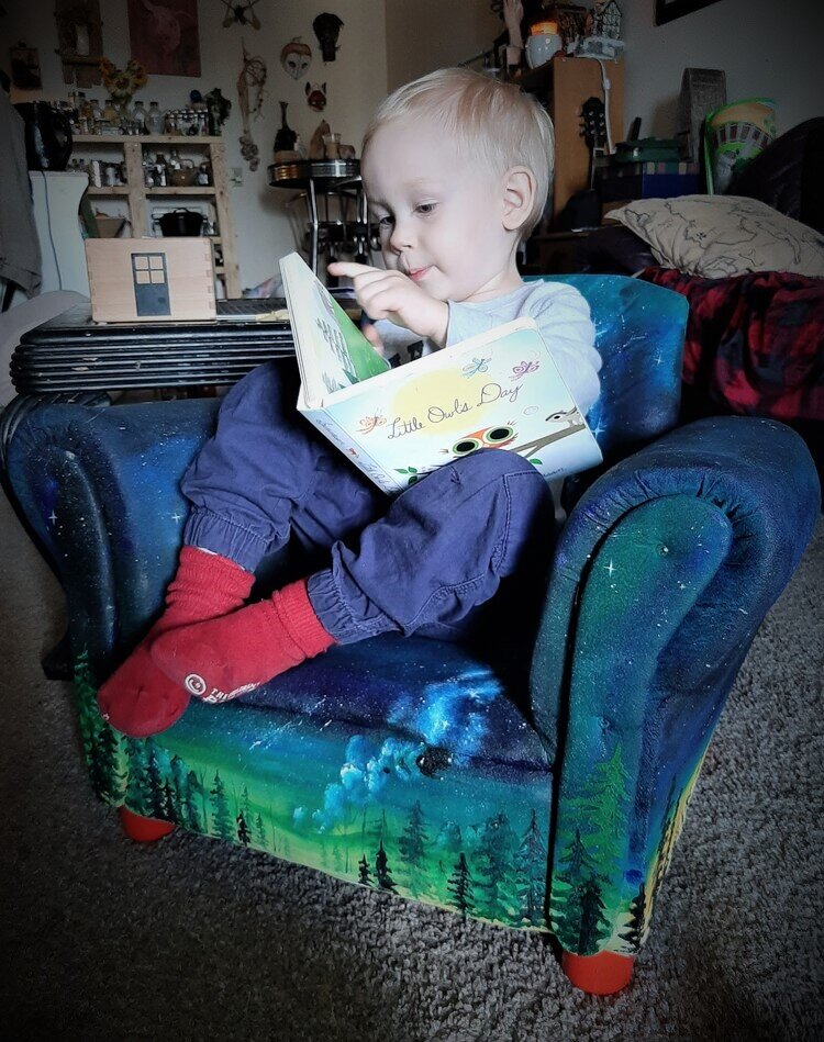 Reupholstering and Painting Toddler chair