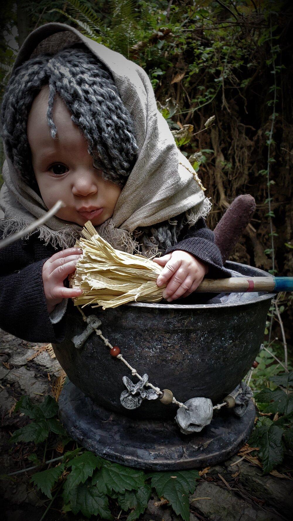 Baby Baba Yaga in mortar
