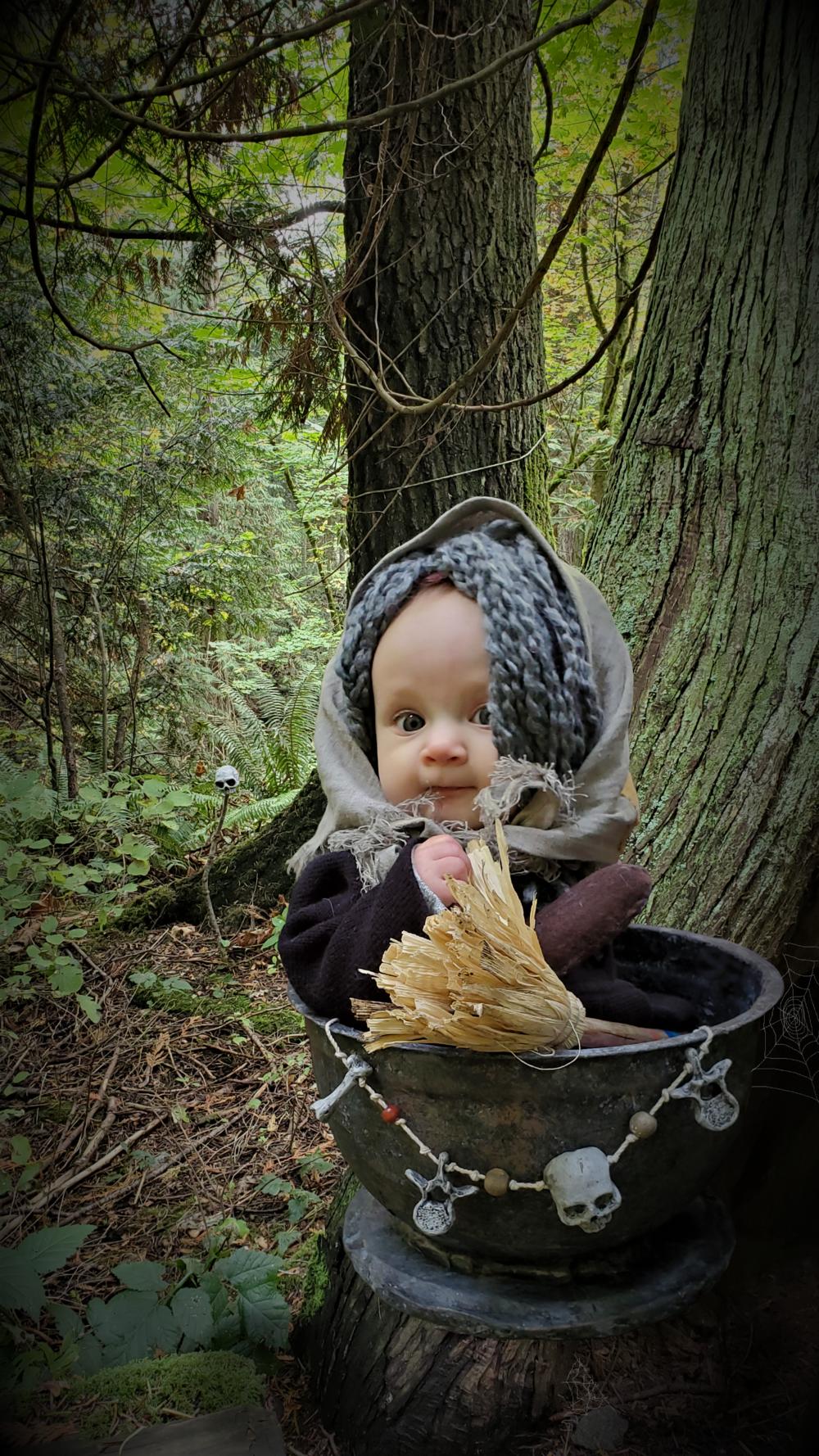 Baby Baba Yaga in mortar flying in woods