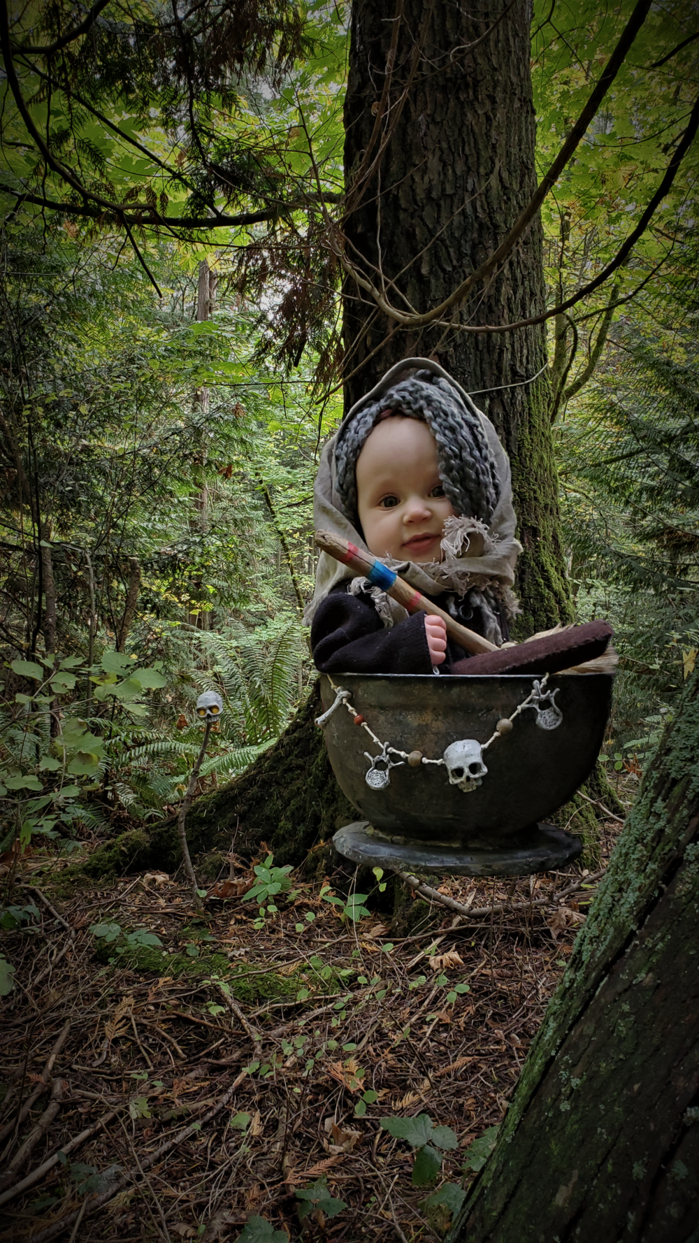 Baby Baba Yaga flying through the woods in her mortar
