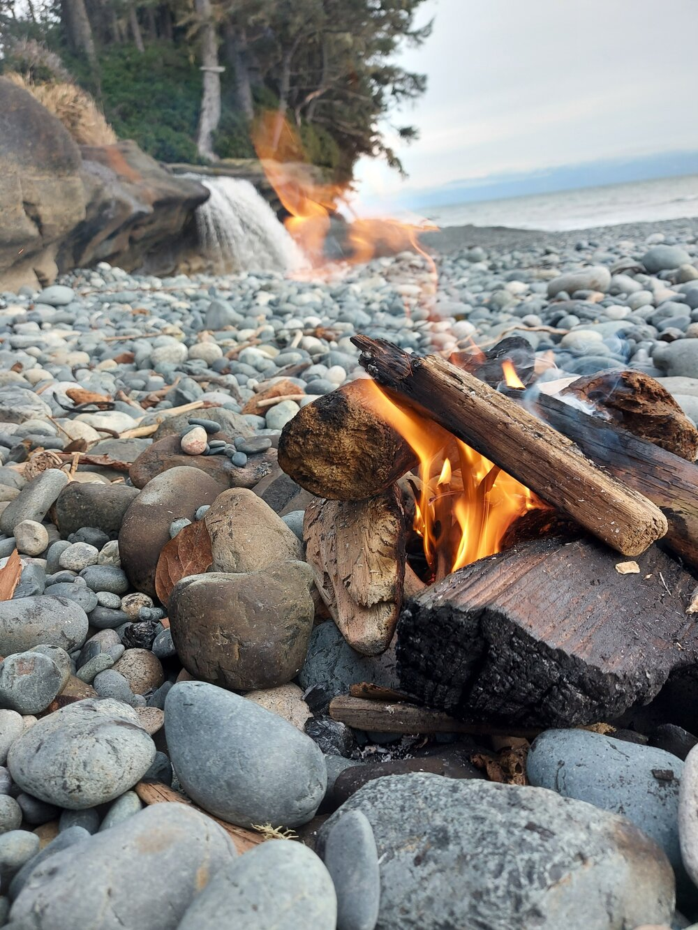 Starter in use! Helping us light a fire with damp wood on the beach.