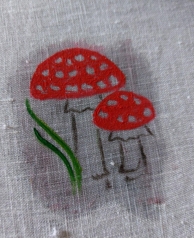 mushroom painted on linen
