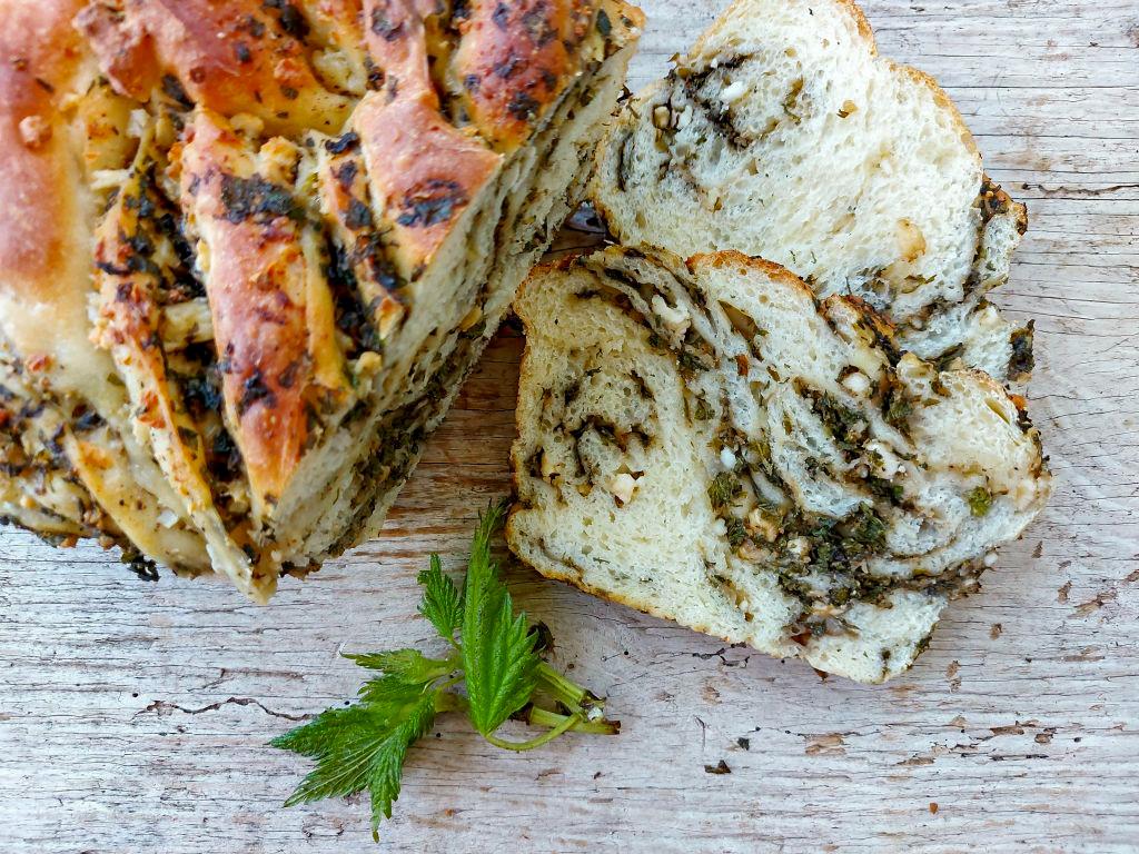 Stinging Nettle and Feta twist Bread