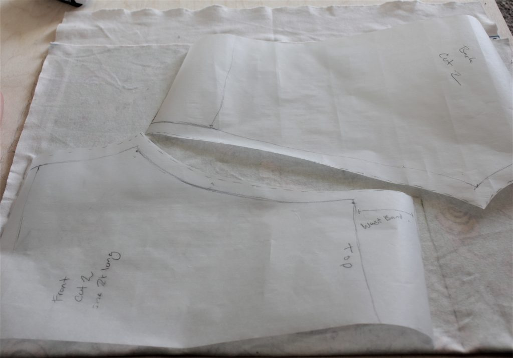 drafted patterns laid out onto the wrong side of the fabric