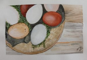 watercolour painting of chicken eggs