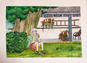 watercolour painting of a man outside a farmers market store drinking coffee