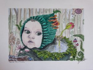 watercolor painting of a baby in magical forest scene