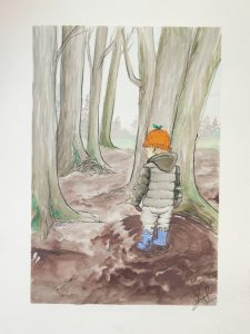 watercolor painting of a boy in a mud puddle