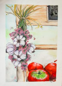 watercolor painting of garlic braid and tomatoes at a farmstand