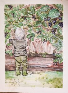 watercolor painting of a toddler in a blackberry patch