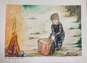 watercolor painting of boy chopping wood next to camp fire