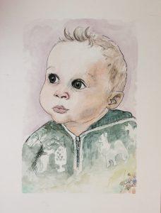 watercolour portrait of baby girl