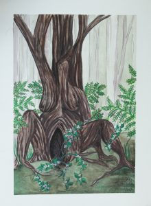watercolour painting of a tree that looks like a pregnant woman