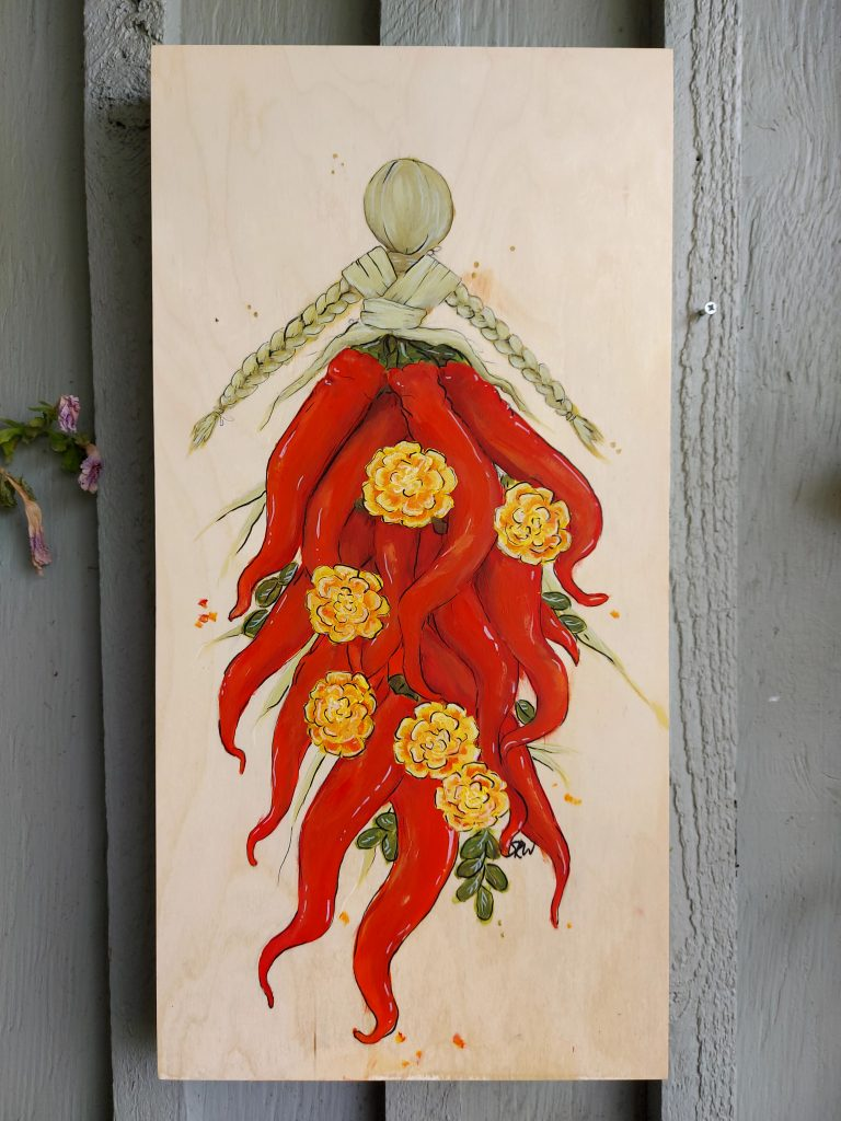 acrylic painting of cornhusk doll with pepper dress