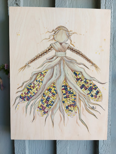 acrylic painting on wood or corn husk doll with corn cob dress